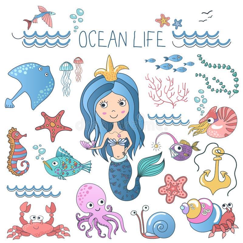 Установленные иллюстрации морской флоры и фауны Меньшая милая сирена принцессы русалки шаржа с рыбами и другими океана моря живот иллюстрация вектора