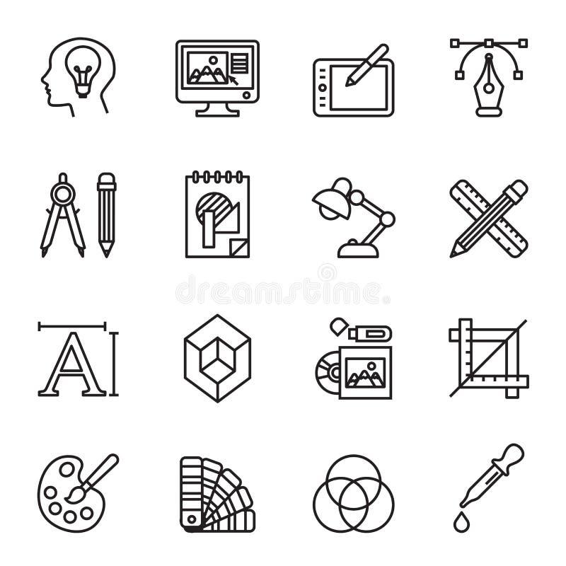 Установленные искусство, чертеж и сеть и значки графического дизайна иллюстрация вектора