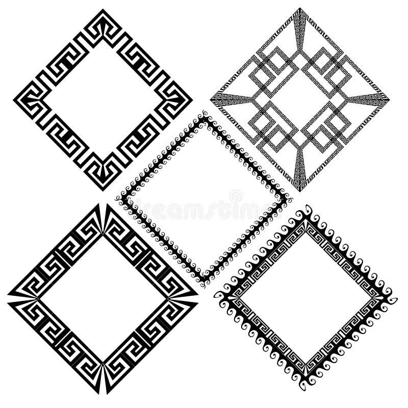 Установленные картины рамки границы меандра косоугольника греческие ключевые бесплатная иллюстрация