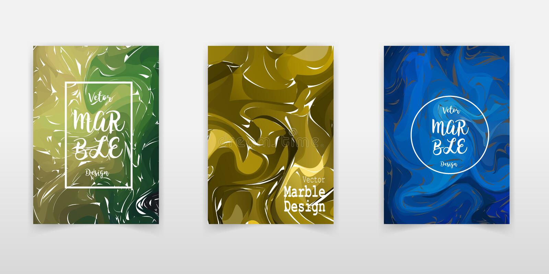 Установленные картины с мраморизовать Чернила цвета в воде E Выплеск краски Красочная жидкость Для вашего плаката, брошюра, бесплатная иллюстрация