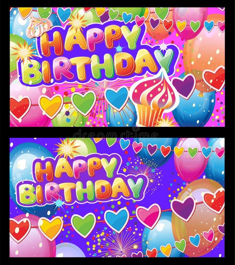 Установленные карты с элементами дня рождения иллюстрация штока