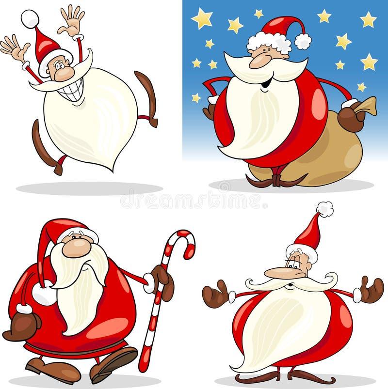 Установленные клаузулы Санта рождества шаржа иллюстрация штока
