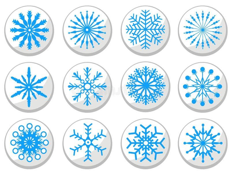 Установленные кнопки голубой снежинки круглые иллюстрация штока