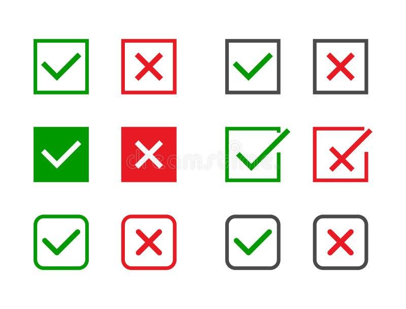 Установленные контрольные пометки Зеленые тикание и Красный Крест в различных формах Да или нет признавайте и склоняйте символ Зн иллюстрация вектора