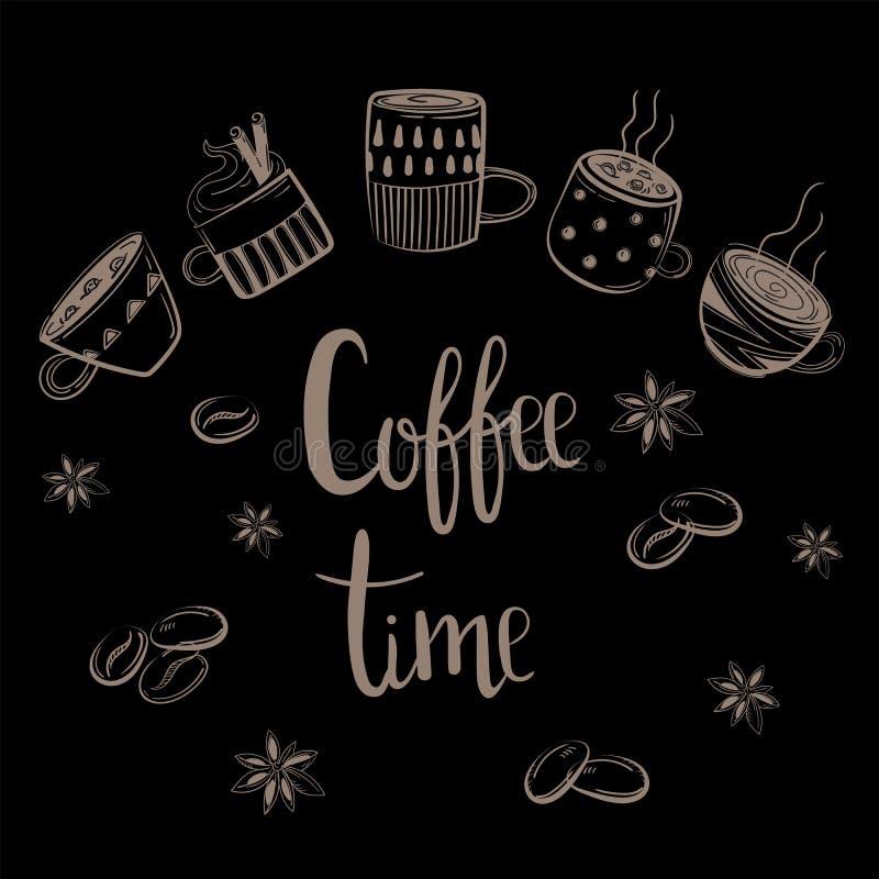 установленные кофейные чашки Текст времени кофе бесплатная иллюстрация
