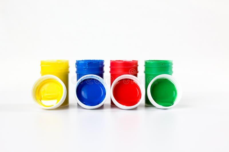 Установленные краски гуаши для детей изолированных на белой предпосылке стоковое фото rf