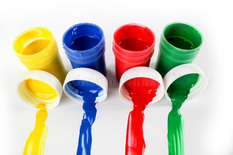 Установленные краски гуаши для детей изолированных на белой предпосылке стоковая фотография rf