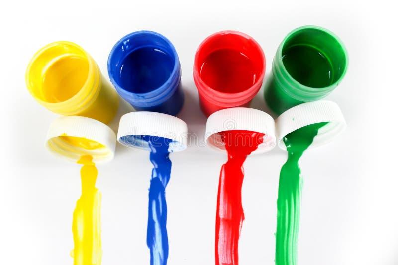 Установленные краски гуаши для детей изолированных на белой предпосылке стоковые изображения rf