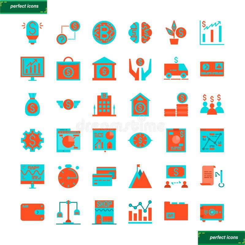 Установленные кренить и финансовые плоские значки стоковые изображения