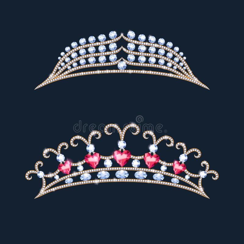 Установленные кроны тиары Diadem свадьбы с диамантами и самоцветами иллюстрация штока