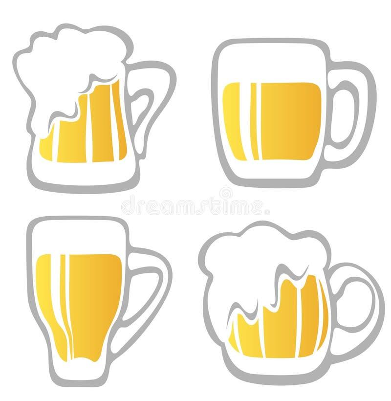 установленные кружки пива иллюстрация штока