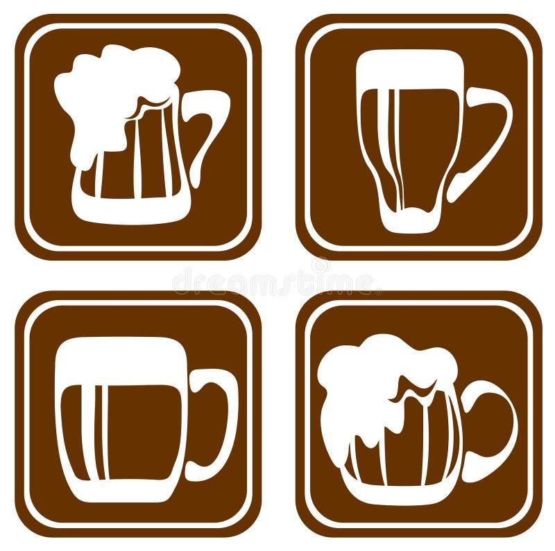 установленные кружки пива бесплатная иллюстрация
