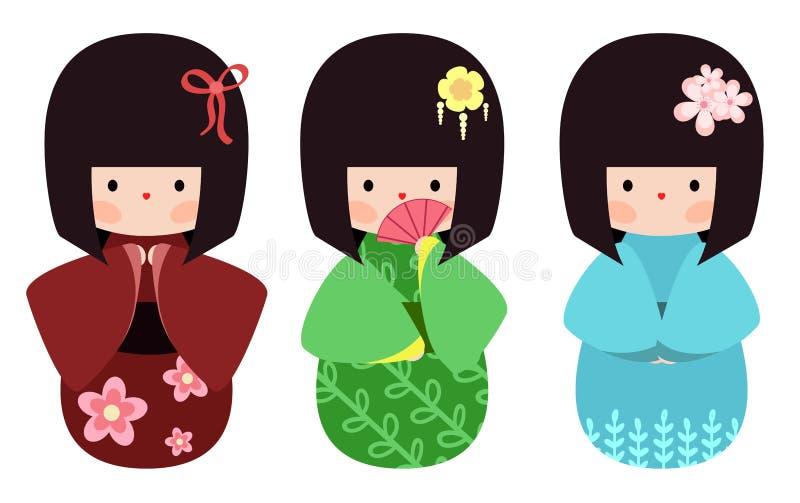 Установленные куклы Kokeshi бесплатная иллюстрация