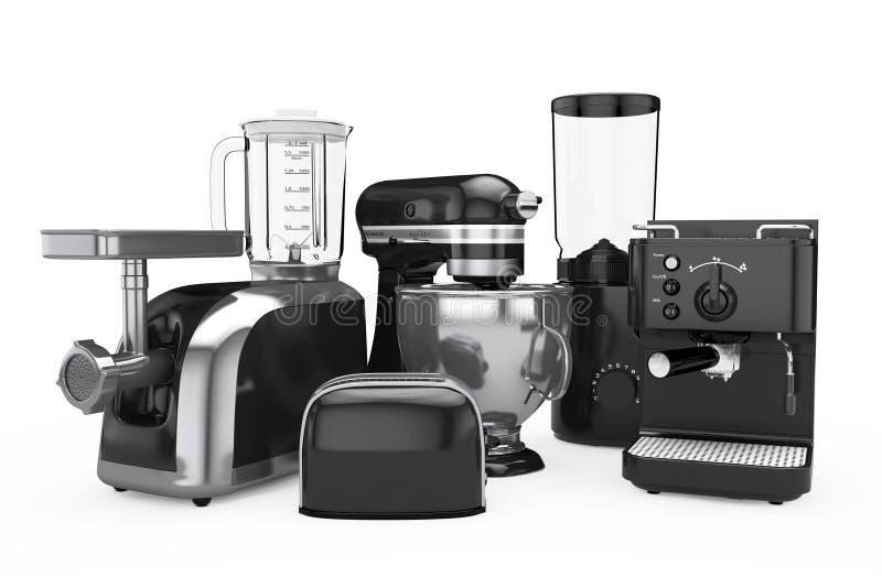Установленные кухонные приборы Черный Blender, тостер, машина кофе, иллюстрация штока