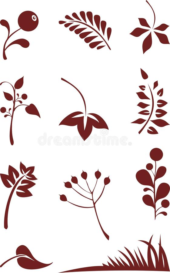 установленные листья иллюстрация вектора