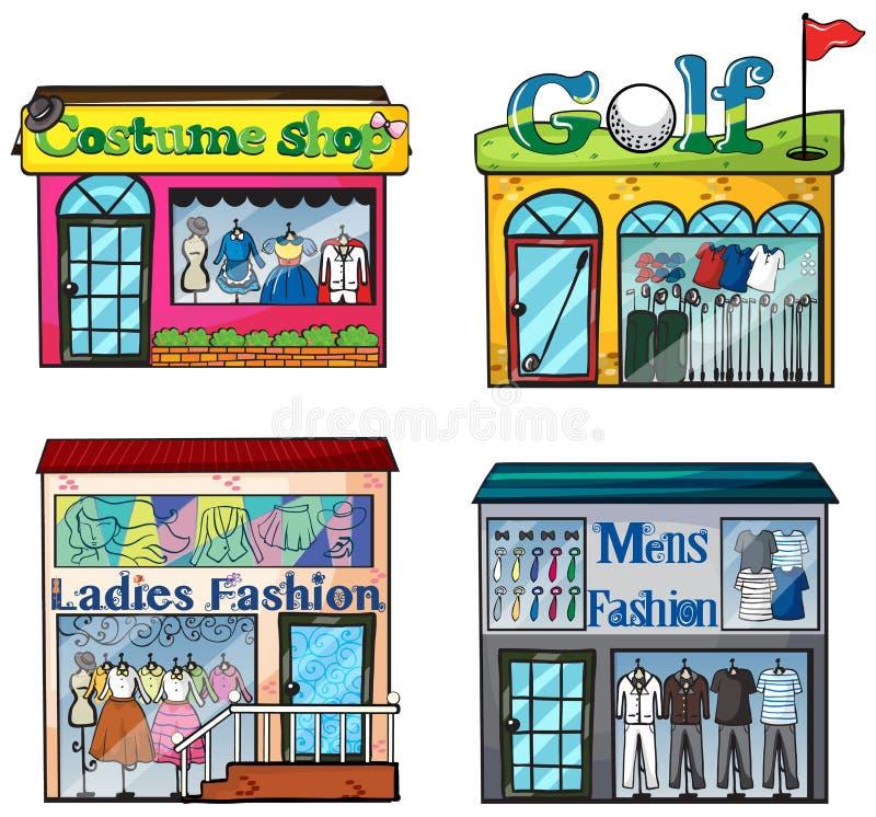 Установленные магазины иллюстрация вектора