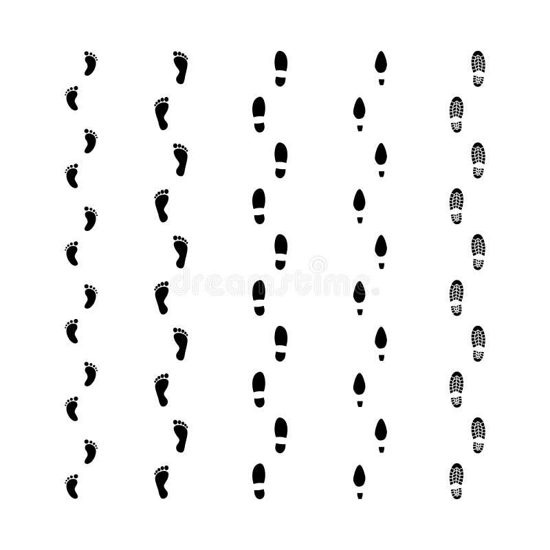 Установленные метки следов следов ноги Мужчина, женщина, ноги младенца отпечатывает следы Черный человеческий ботинок и босоногие иллюстрация штока