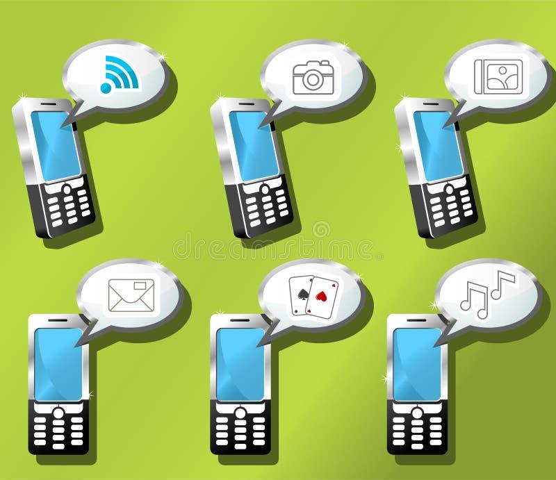 установленные мобильные телефоны иконы иллюстрация штока