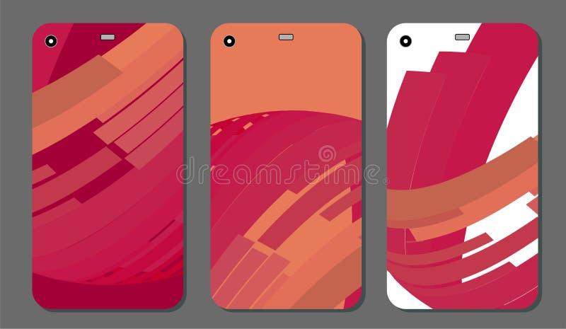 Установленные модные абстрактные орнаменты для крышки и экрана мобильного телефона Видимая часть маски клиппирования Образец бесплатная иллюстрация