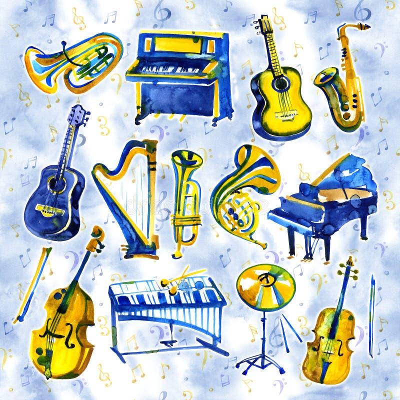 Установленные музыкальные инструменты акварели Все виды аппаратур любят рояль, саксофон, труба, барабанчики и другие бесплатная иллюстрация