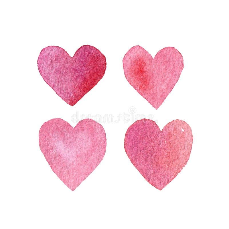Установленные нарисованные вручную сердца стоковое фото rf
