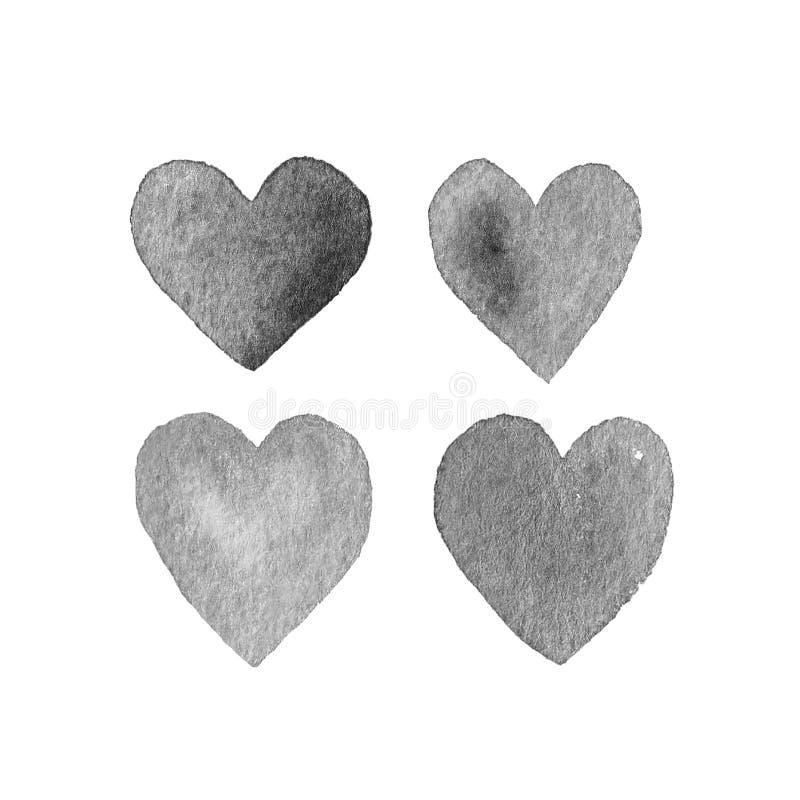 Установленные нарисованные вручную сердца стоковые фотографии rf