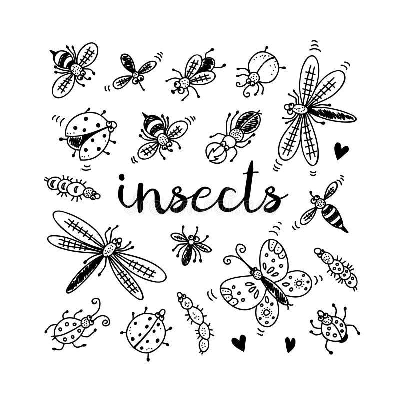установленные насекомые doodle бесплатная иллюстрация