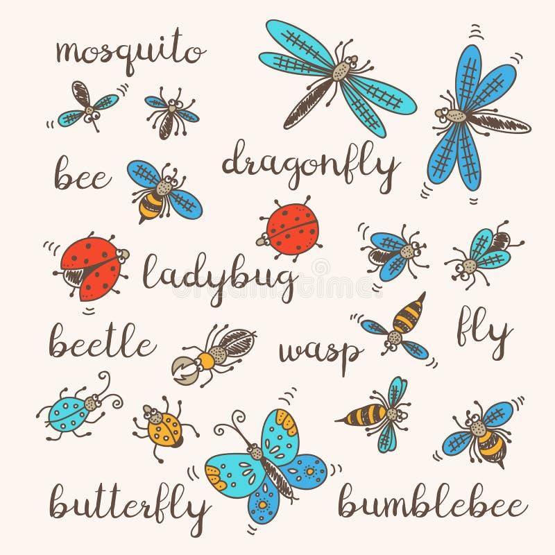 установленные насекомые doodle иллюстрация вектора