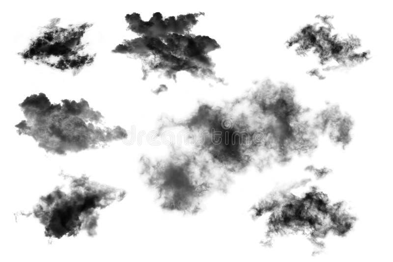 Установленные облака изолированные на белой предпосылке, текстурированном дыме, чистят облака щеткой, резюмируют черное бесплатная иллюстрация
