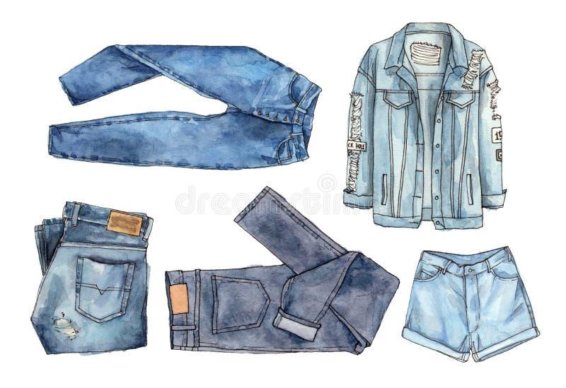 Установленные одежды джинсовой ткани изображение иллюстрации летания клюва декоративное своя бумажная акварель ласточки части иллюстрация вектора