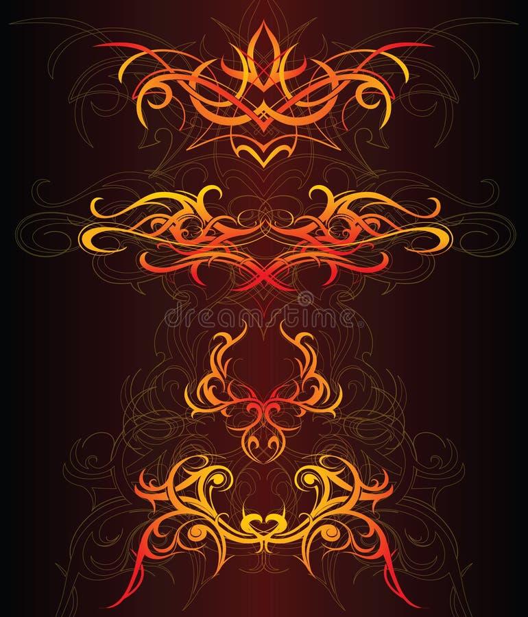 установленные орнаменты пожара иллюстрация вектора
