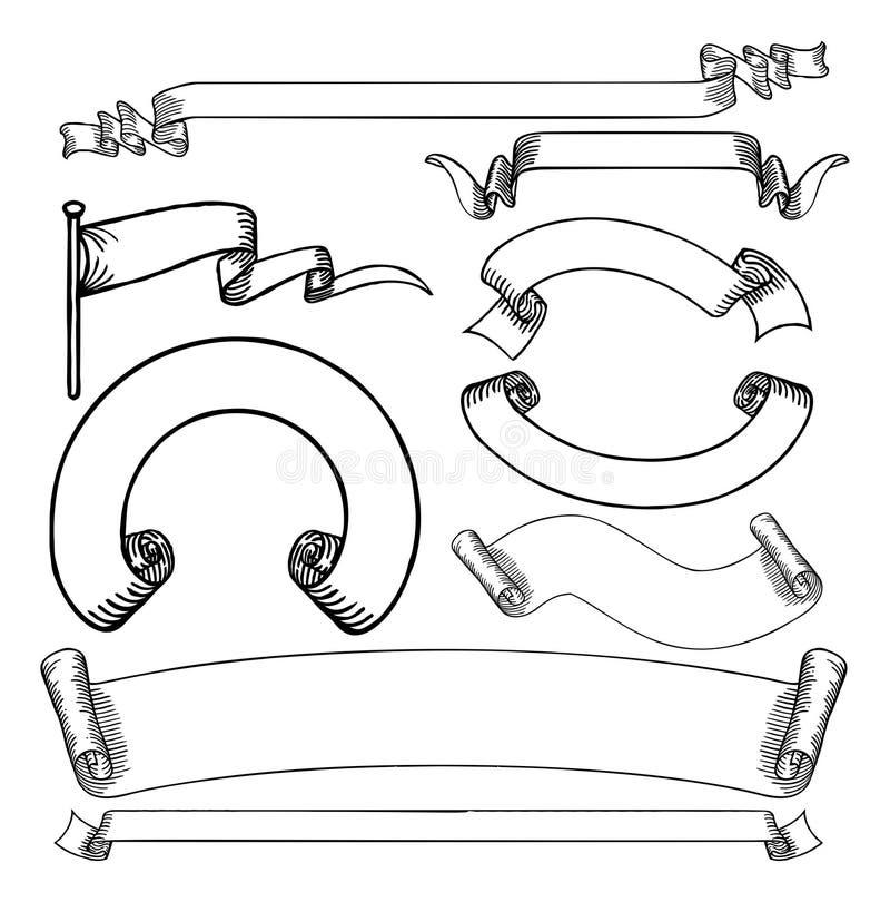 Установленные перечени и ленты знамен иллюстрация штока
