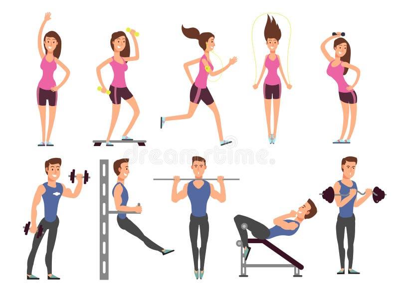 Установленные персонажи из мультфильма вектора людей фитнеса Женщины и спортсмены людей делают тренировки с спортивным инвентарем иллюстрация штока