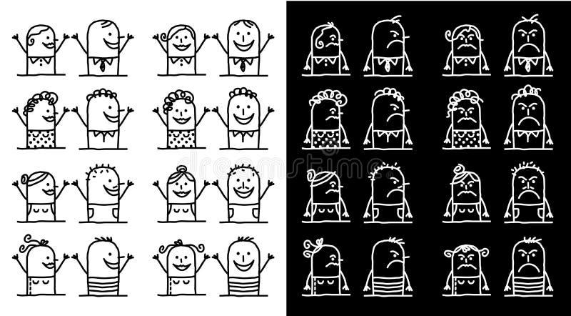 Установленные персонажи из мультфильма - положительные и отрицательные люди иллюстрация вектора