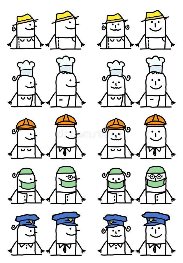 Установленные персонажи из мультфильма - работы и занятия иллюстрация вектора