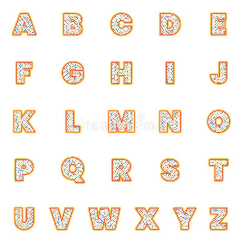 Установленные письма алфавита Стиль точки польки, ретро винтажный дизайн оформления Собрание шрифта для дизайна названия или заго иллюстрация штока