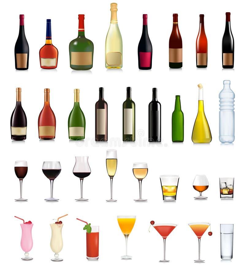 установленные пить коктеилов различные иллюстрация вектора