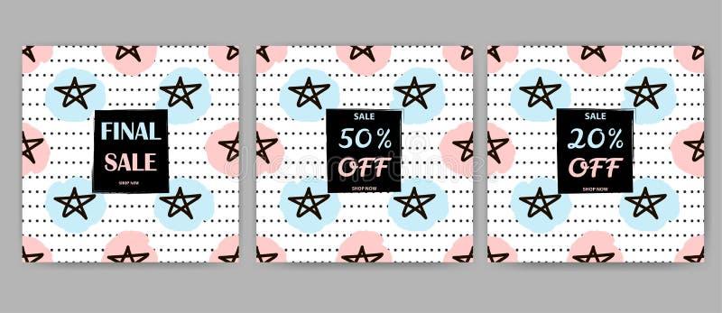 Установленные плакаты продажи Предпосылки звезды бесплатная иллюстрация