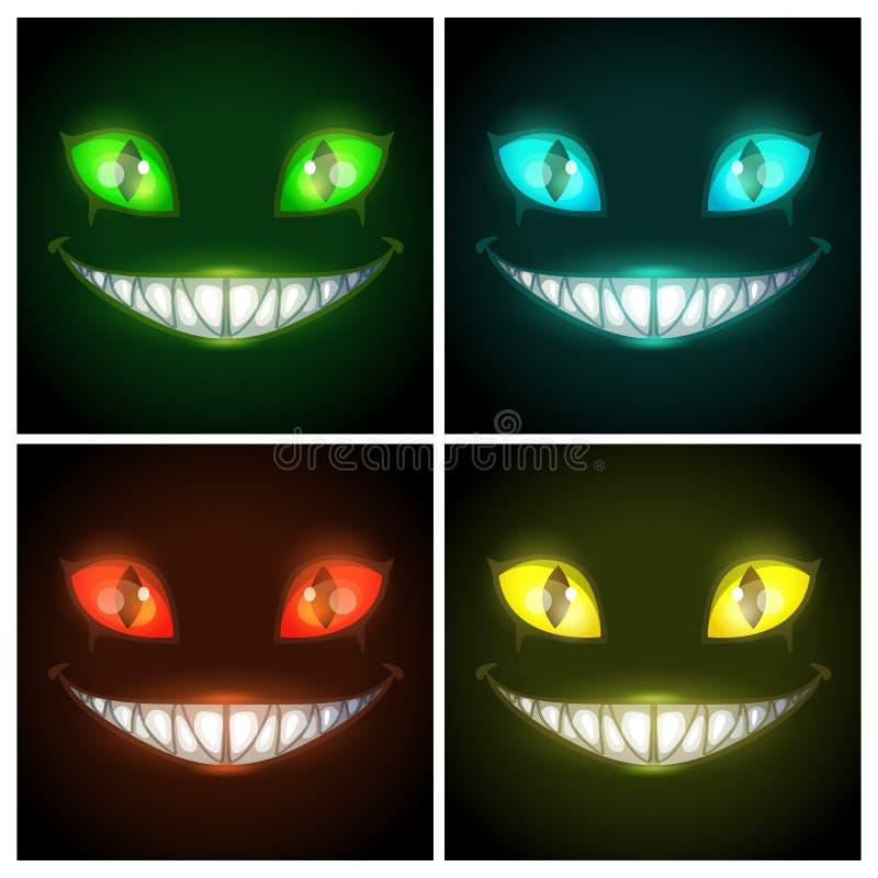 Установленные плакаты хеллоуина страшные Сторона фантазии страшная усмехаясь злая животная на черной предпосылке иллюстрация штока