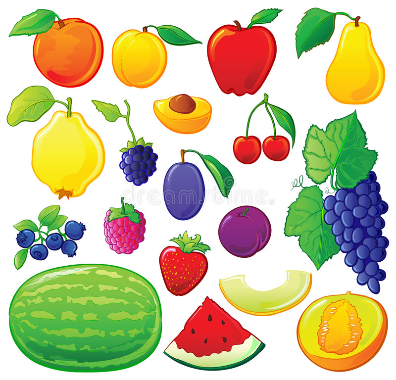 установленные планы плодоовощ цвета бесплатная иллюстрация