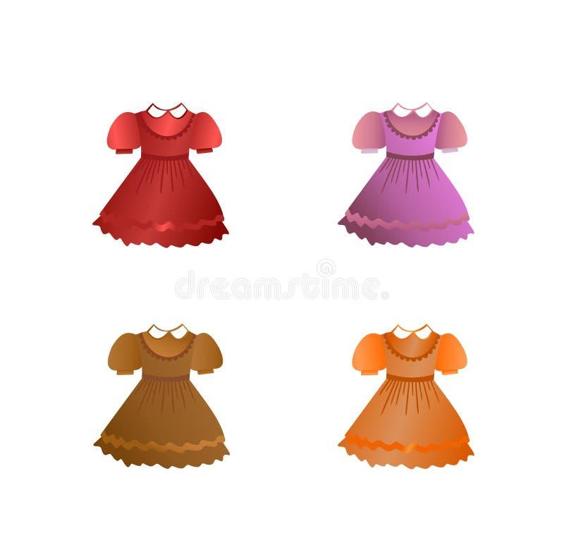 установленные платья детей иллюстрация вектора