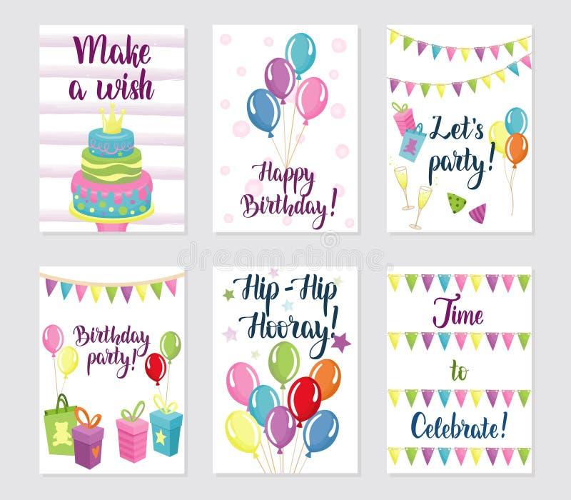 Установленные поздравительые открытки ко дню рождения с днем рождений бесплатная иллюстрация