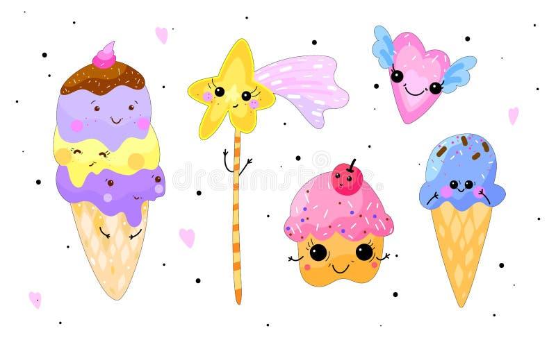 Установленные помадки Kawaii Мороженое, пирожное, сердце и звезда изолировали o бесплатная иллюстрация