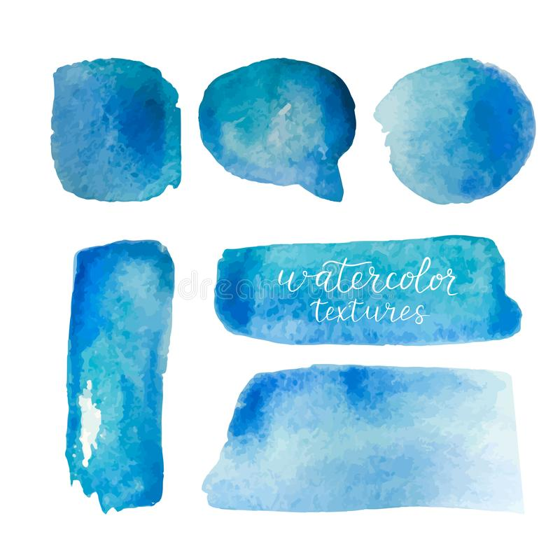 Установленные предпосылки акварели Собрание голубых текстур акварели с ходами щетки Пятна акварели изолированные на белом backgro иллюстрация вектора