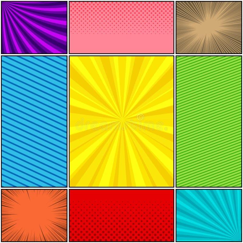 Установленные предпосылки комика красочные иллюстрация вектора