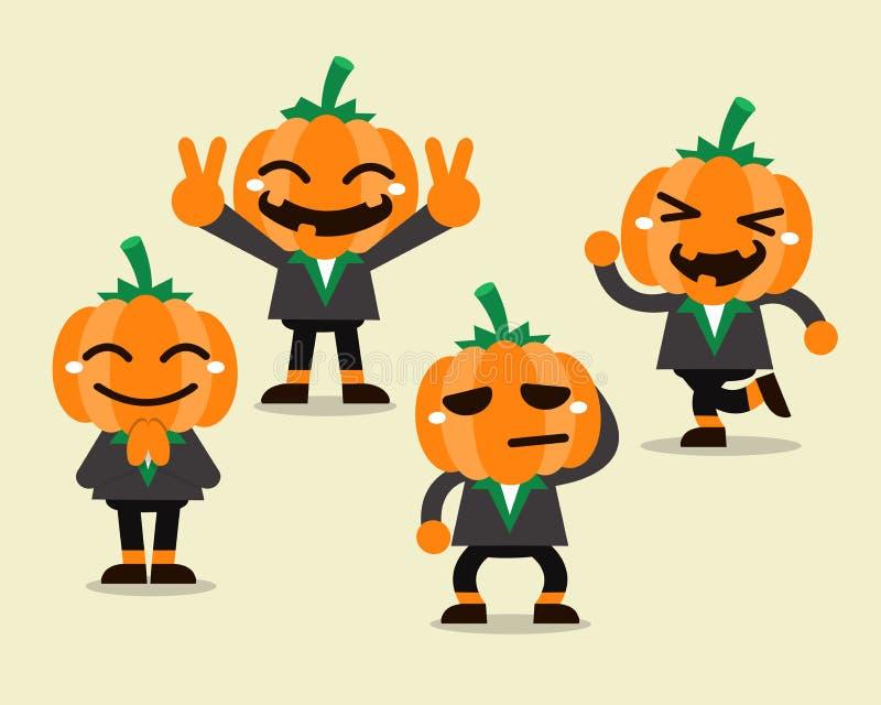 Установленные представления характера тыквы хеллоуина шаржа бесплатная иллюстрация