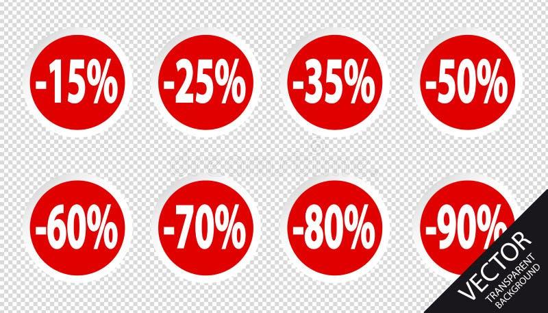 Установленные проценты бирок цены со скидкой - красные кнопки вектора - изолированными на прозрачной предпосылке иллюстрация штока