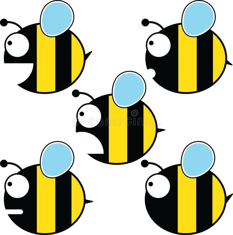 Установленные пчелы мультфильма иллюстрация штока