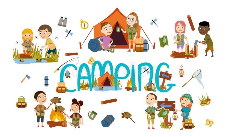 Установленные различные мальчики и девушки туристские на природе Располагаться лагерем иллюстрация штока