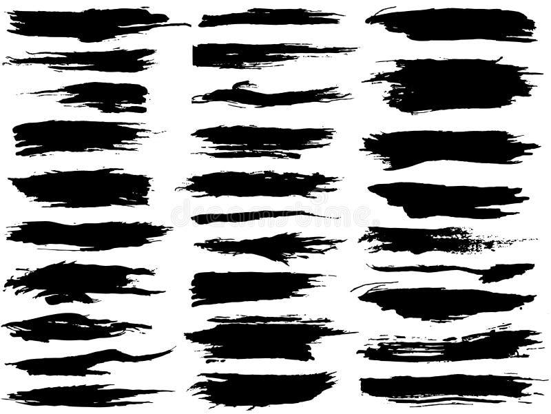 Установленные различные ходы щетки grunge Грязные художественные элементы дизайна изолированные на белой предпосылке иллюстрация штока